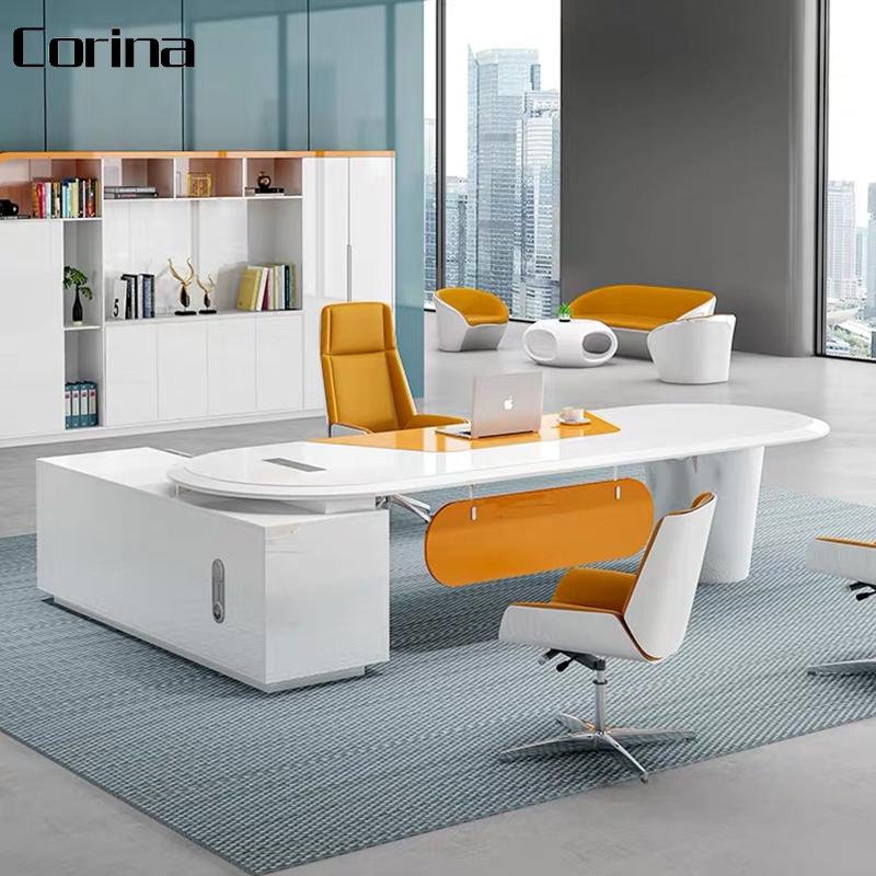 Modern design curved shape acrylic white CEO office desks