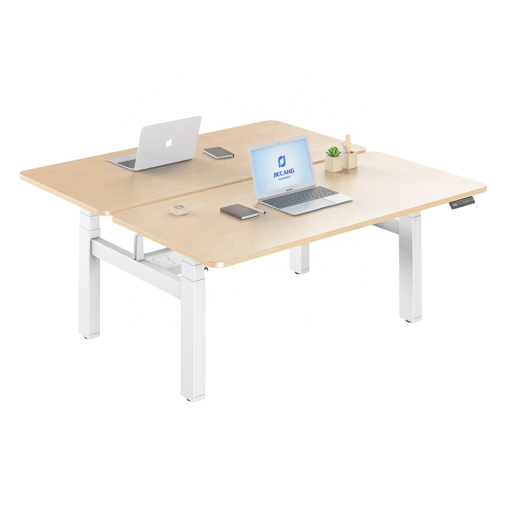 Ergonomics Office Furniture Sit Stand Height Adjustable Desk Remote Control For 2 People