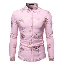 Мужская рубашка с длинными рукавами, розовая приталенная рубашка с принтом в виде роз и золотистого цвета, вечерние Клубные свадебные рубаш...(China)