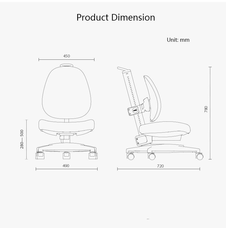 2m2kids Study Chair Ergonomic Design For Back Protection Easy To Learning System with Adjustable Gravity Lock Wheel