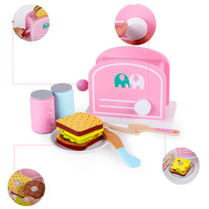 Children Eco-friendly Pretend Home Play Game Bread Machine Preschool Educational Wooden Toy Kitchen
