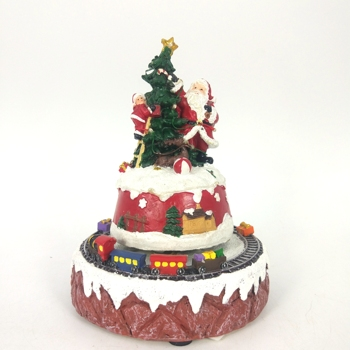 Polyresin Train Music Rotate LED Christmas Tree Decoration