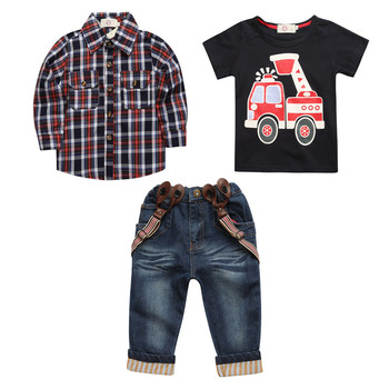 High quality spring comfortable cartoon print long sleeve wholesale fashion children cheap kids set 3years baby boy clothes