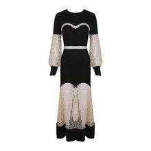 Весенне-летние макси платья для женщин, для выпускного вечера, сексуальное черное перспективное платье, Длинные вечерние платья для ночног...(Китай)