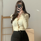 2021Wholesale Casual Koreans Lady Blouse Plus Size Long Sleeve Sheer Black Tops Knitted Womens Fashion Button up Blouse