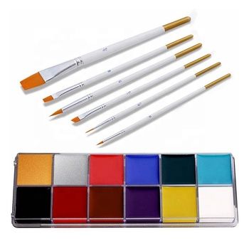 Adults Kids Hypoallergenic Safe Non-Toxic Professional Halloween Party 12 Colors Oil Face Body Paint Kits with 6 Brushes