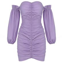 Новый Фиолетовый Slash шеи с открытыми плечами Фонари с длинными рукавами в стиле принцессы для женщин на день рождения сценическое платье дл...(China)