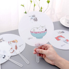 Colorful Printed Handle Fan Custom Plastic Pp Promotional Hand Cute Fan