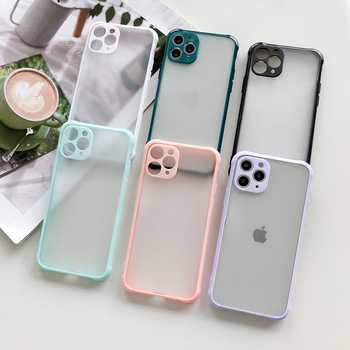 Matte Transparent Phone Case For iPhone, Colorful Frame Frosted Anti shock Acrylic Clear Hard PC Phone Case Cover for iPhone 12