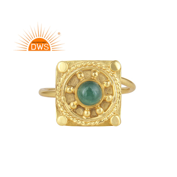 Emerald Gemstone Ring Ethnic Design Indian Sterling Silver Gold Plated Handmade Ring Jewelry Wholesale