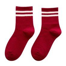 Забавные милые японские школьные хлопковые носки для девочек, свободные полосатые цветные женские носки, дизайнерские ретро носки в стиле ...(Китай)