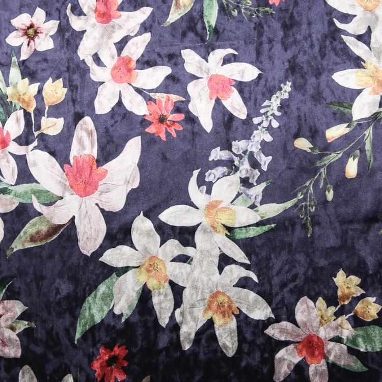 Wholesale 270gsm Customized Digital Printing Flower Plush Soft Fabric