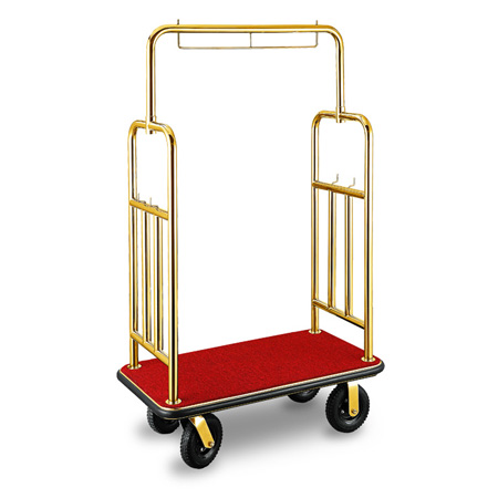 High Quality Stainless Steel Bellman Trolley Hotel Luggage Cart