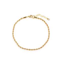 Luxury gold plated bracelets shiny 3mm silver gold rope chain bracelets anklets