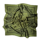 Soft Square Silk Scarf Ladies Green Paisley Pattern Satin Head Scarf