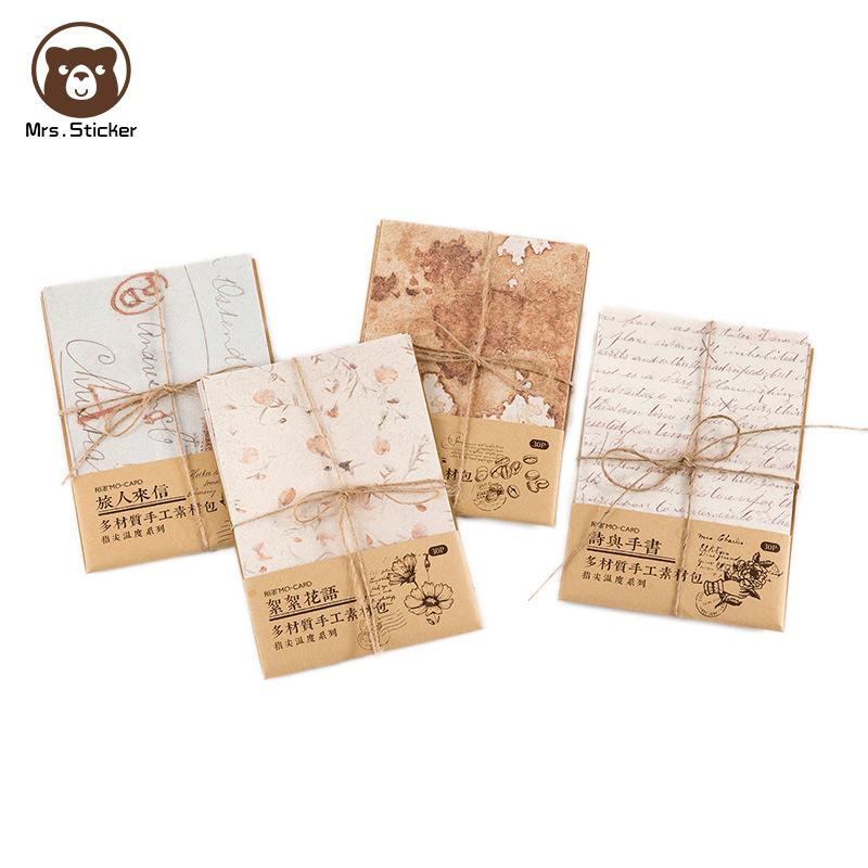 30 sheets Bujo Paper Art Vintage Papercaft Ephemera Pack Retro Creative Handmade Mixed Material Paper DIY Scrapbook,Carft