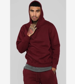 80% Cotton 20% Polyester Burgundy blanket hoodie Customized plain style french terry men women no brand hoodies and sweatshirts