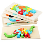 Small size Best-selling 3D animal Wooden Puzzle Board Cartoon Dinosaur Jigsaw pop DIY puzzle kids gift Educational toy for child