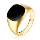 Hot Sale Fashion Men's 18k Gold Plated Rings Jewelry Black Epoxy Stainless Steel Finger Ring
