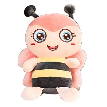 Custom stuffed Animal with Smile Face and Pink Wings Honey Bee Plush Soft Toy Present for Birthday50cm