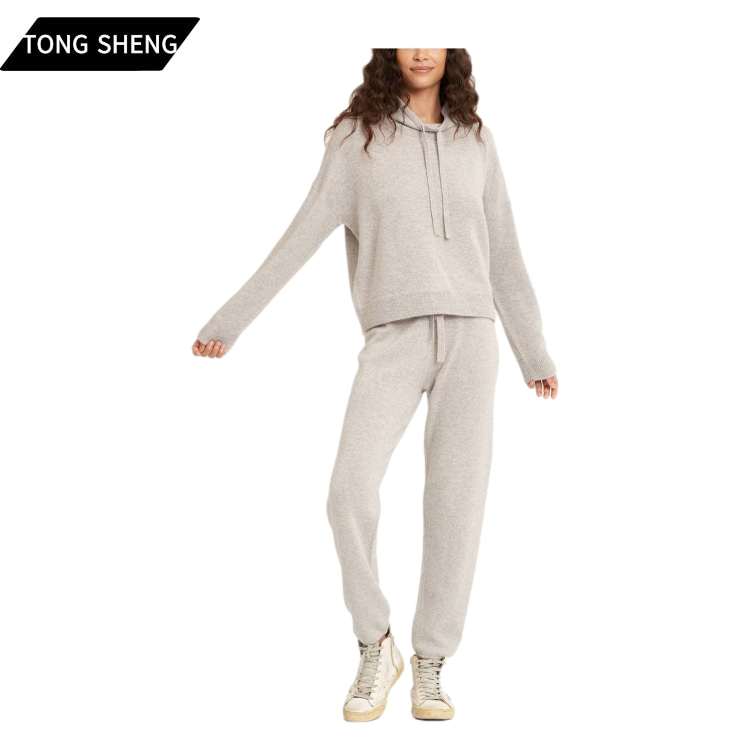 Tong Sheng Joggers Pant Set Ribbed Trim Ladies Cashmere Hoodie Women Set Knitted 100% Wool Cashmere Sweater Pant set