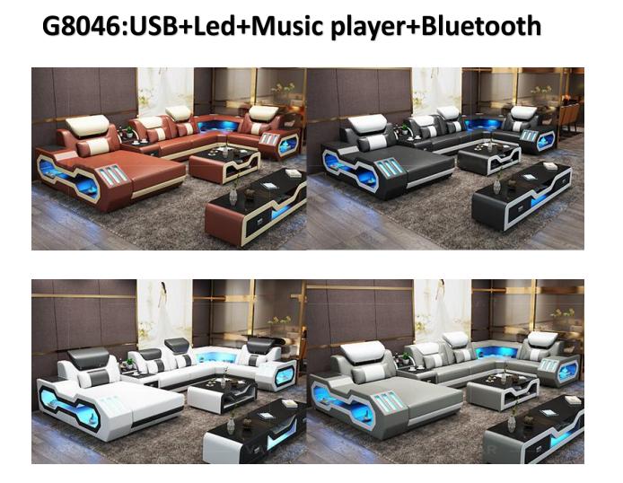 Top Grain Genuine Leather Sofa Super Modern Style LED Lamps Living Room Sofa Set Sectional l shape Sofa Set Recliner