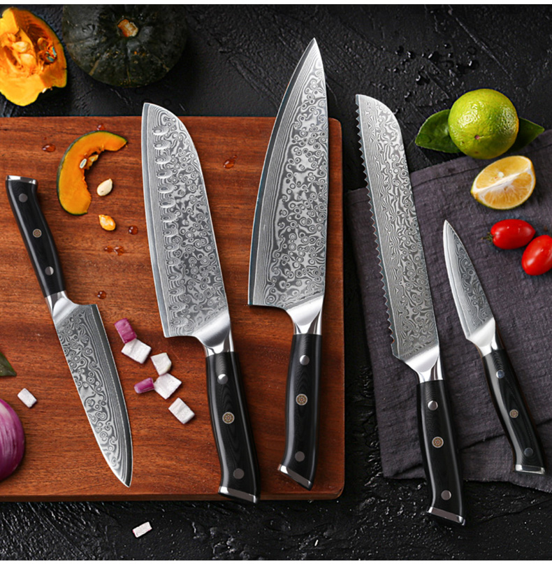 Ready TO SHIP Professional Japanese Damascus Steel Hand made 7 PCS Kitchen Gyuto Chef Knife Set