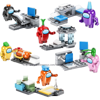Among Us steam space impostor crewmates figures Peluche Game model Building Blocks Bricks Toys For Children Gifts