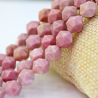 Rhodonite Faceted Faceted Beads Wholesale Rhodonite Jewelry Making Crafts Natural Faceted Rhodonite Gemstone Diamond Cutting Loose Beads 15.5""