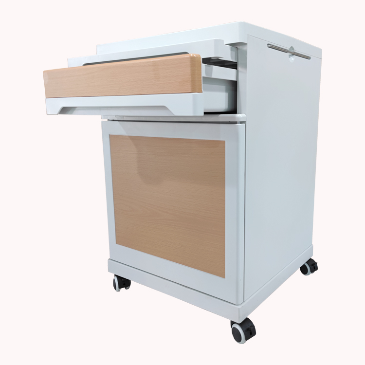 Wholesale wooden abs hospital clinic medical bedside table hospital tray table with a drawer