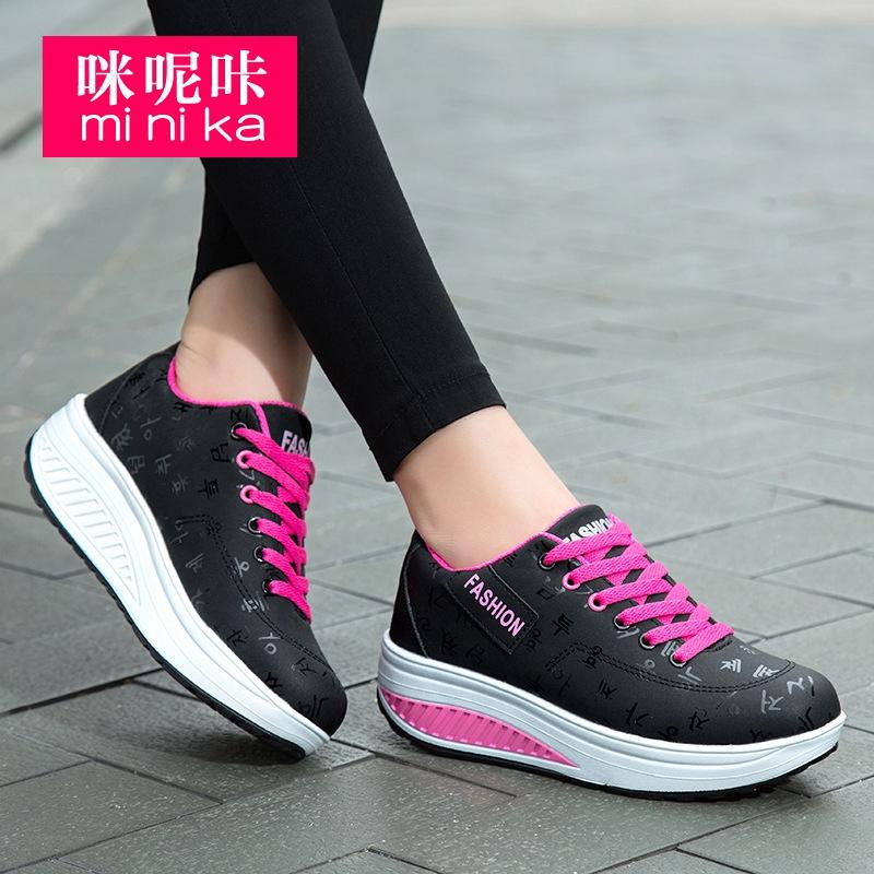 Minika/женская модная дышащая обувь на танкетке с принтом; Парусиновая обувь на платформе из хлопчатобумажной ткани; Кроссовки