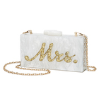 Ladies Golden Letter Sequin Adorn White Acrylic Wedding Bridal Party Messenger Clutch Bag Evening Bags