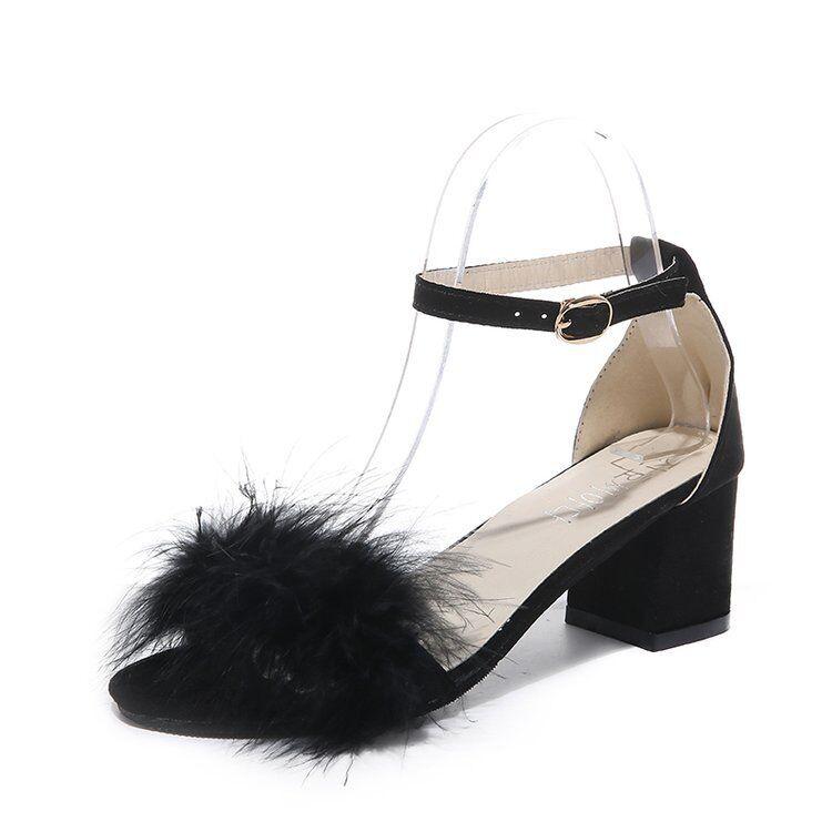 2020 Summer square heel girls sandals women shoes