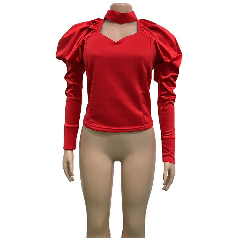 High Quality V Neck Stitching Puff Sleeve Top