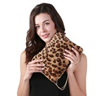 2020 Winter Women Fashion Faux Fur Handbag Leopard/Pink/Yellow for Party Dinner