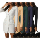 2021 New Style V Neck Double Breasted Button Down Clothes Long Coats Long Sleeve Sexy Women Blazer Dress