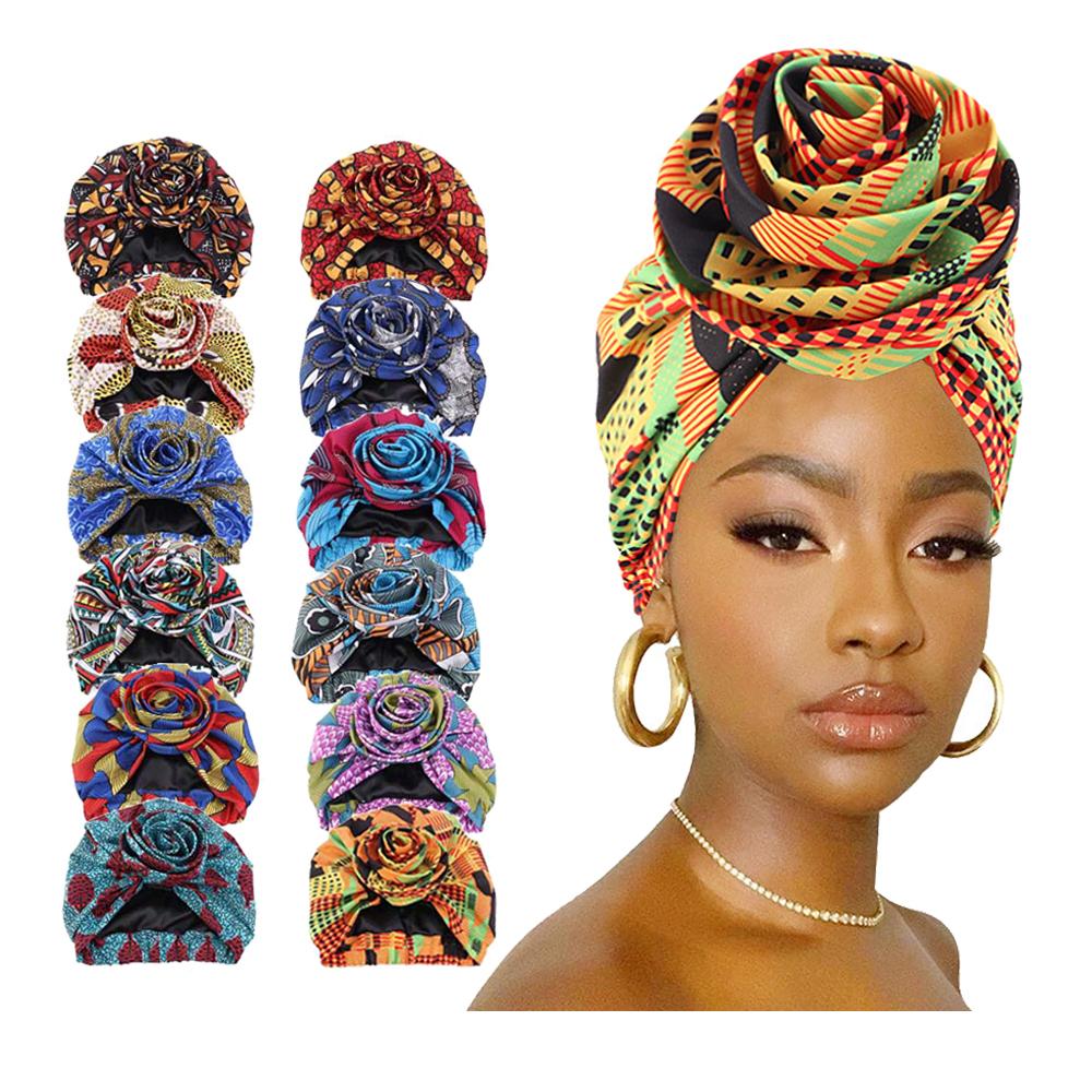 womens satin lining hairwrap african print flower hat cap head bonnets head turbans headwear knot turban hair indian beanie