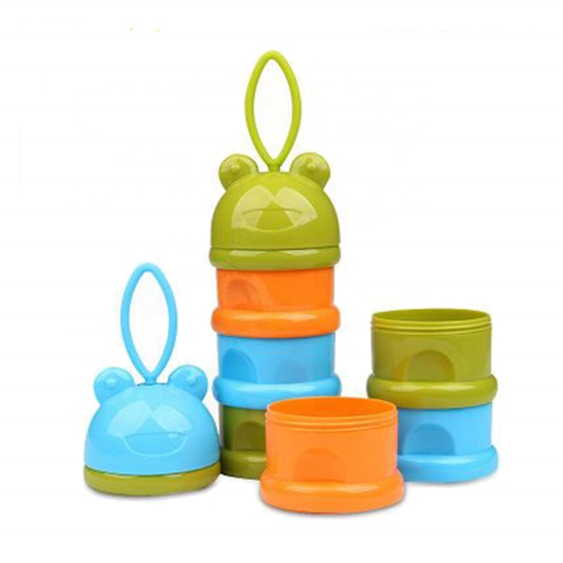 BPA Free Portable Ring Frog Design Stackable Milk Powder Baby Food Storage Containers/Snack Cup
