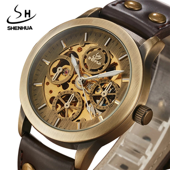 SHENHUA 9269D Skeleton Automatic Self-Wind Watches Antique Bronze Retro Leather Mechanical Wristwatch Male Relogio Masculino