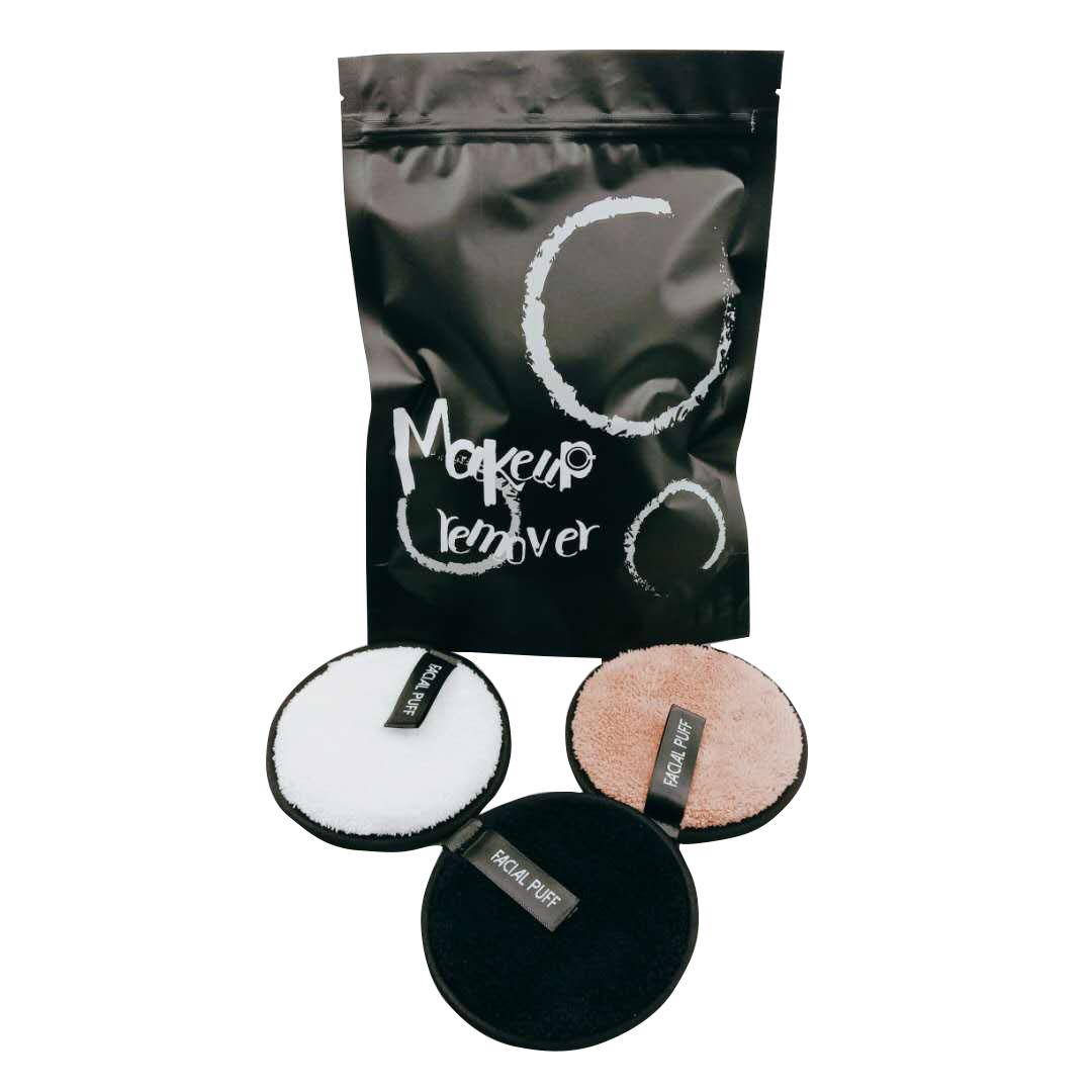 Многоразовая моющаяся круглая хлопчатобумажная сумка из микрофибры для снятия макияжа с мешком для стирки