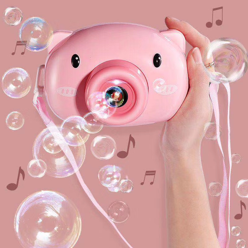 2020 hot selling popular pig camera bubble machine bubble toy outdoor & indoor cute pig bubble toy camera for kids