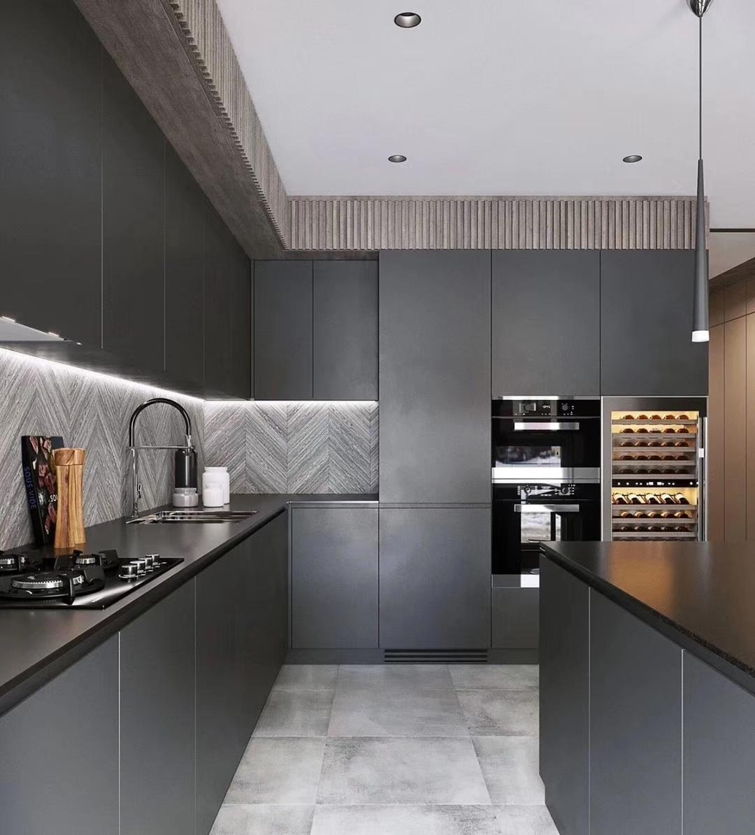 Modular Black Melamine Kitchen Cabinets Modern Picture Australia ...