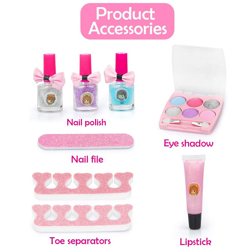 Promotion Gift Kids Play Washable Makeup Toy Nail Polish Kit Non Toxic, Kids Makeup Cosmetic Beauty Set for Girls Toys