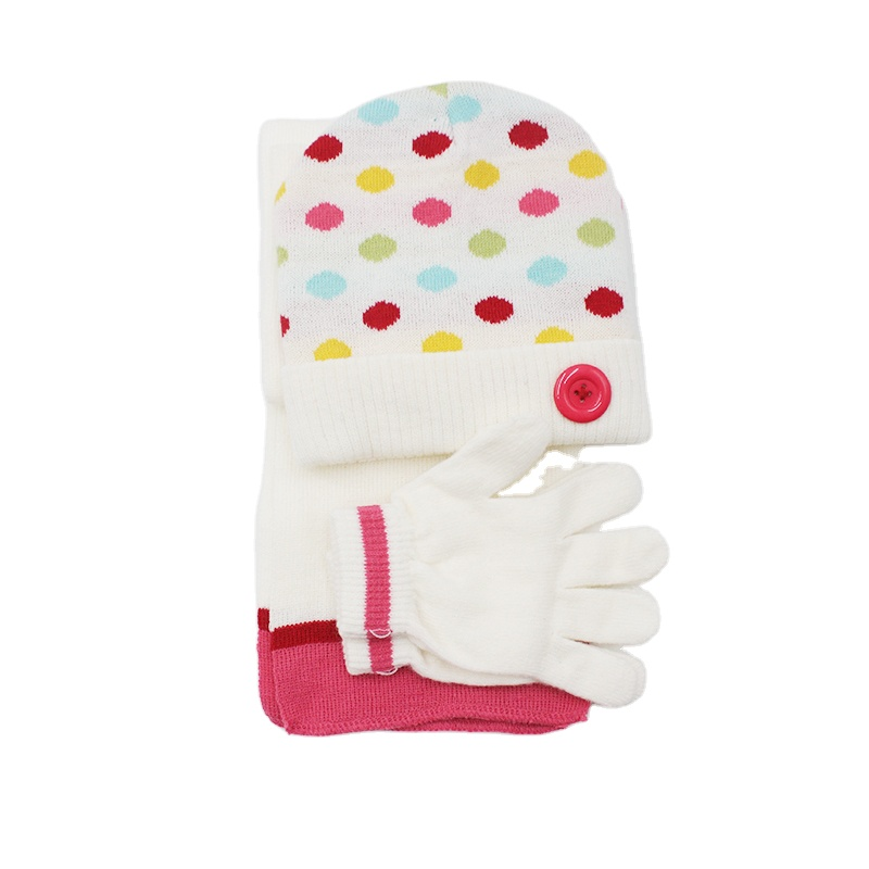 Small Spots Winter Knitting Hat Scarf and Gloves Baby Cute girls beanie Scarf Set With Button MAGIC GLOVES