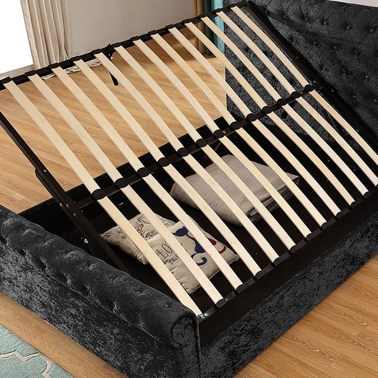 Simple modern black high quality leather bed for bedroom