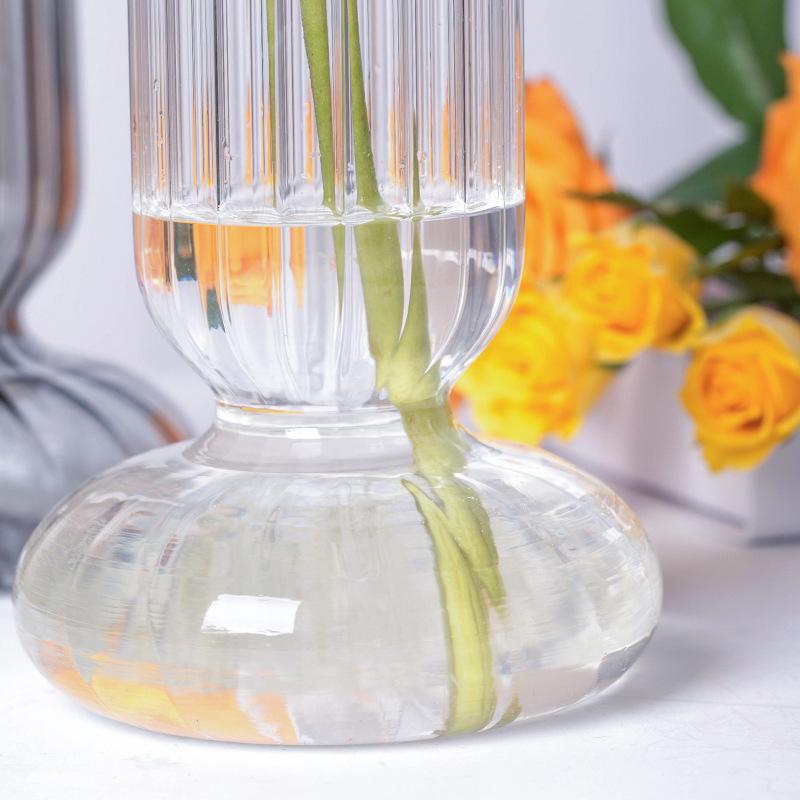 2021 Ins Creative Transparent Striped Glass Vase Creative Hydroponic Flower Arrangement Desktop Decoration Ornaments