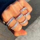 New Diamond Classic New Arrival Adjustable Fashion Crystal Baguette Rings Women Iced Out Classic Finger Zodiac Moissanite Diamond Eternity Ring