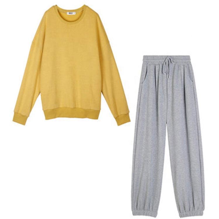 Оптовая продажа, Осенние новые мужские и женские свободные повседневные однотонные свитшоты с круглым вырезом и спущенными плечами, комплекты из двух предметов