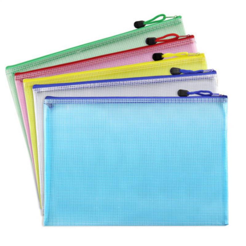Офисная папка А4 на молнии, сетчатая цветная упаковка, Прозрачная Сумка для документов из ПВХ