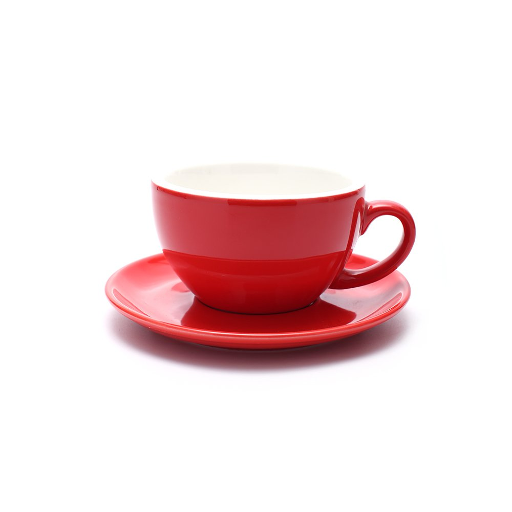 Espresso Cups and Saucers with Espresso Spoons Porcelain Coffee Mugs for Cappuccino Latte Red, 8oz